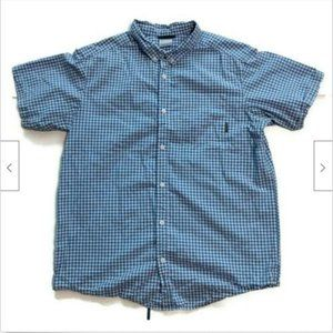 Columbia blue plaid casual short sleeve shirt